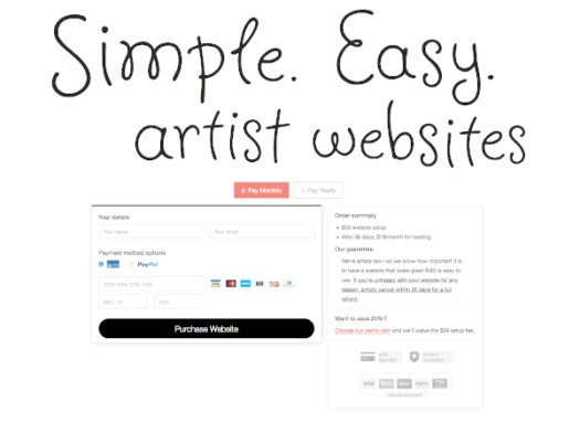 Foliotwist signup page for an artists website