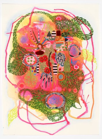 """In My Abstracted Garden I, 2020, gouache / mixed media on paper, 15"""" x 19"""""""