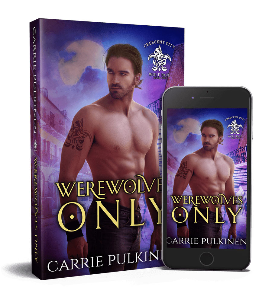 Werewolves Only book and iPhone