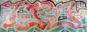 """For Ever Rockae On"" aprile 1984, Spray su tela, cm 335x125"