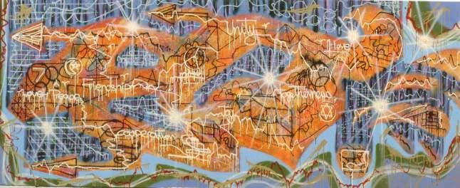 Untitled 1984 Spray su tela cm 125x312 Bibl. Segno, maggio 1985, n. 46 p. 31