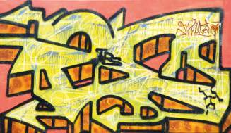 Untitled 1985 Spray su tela cm 240xl40