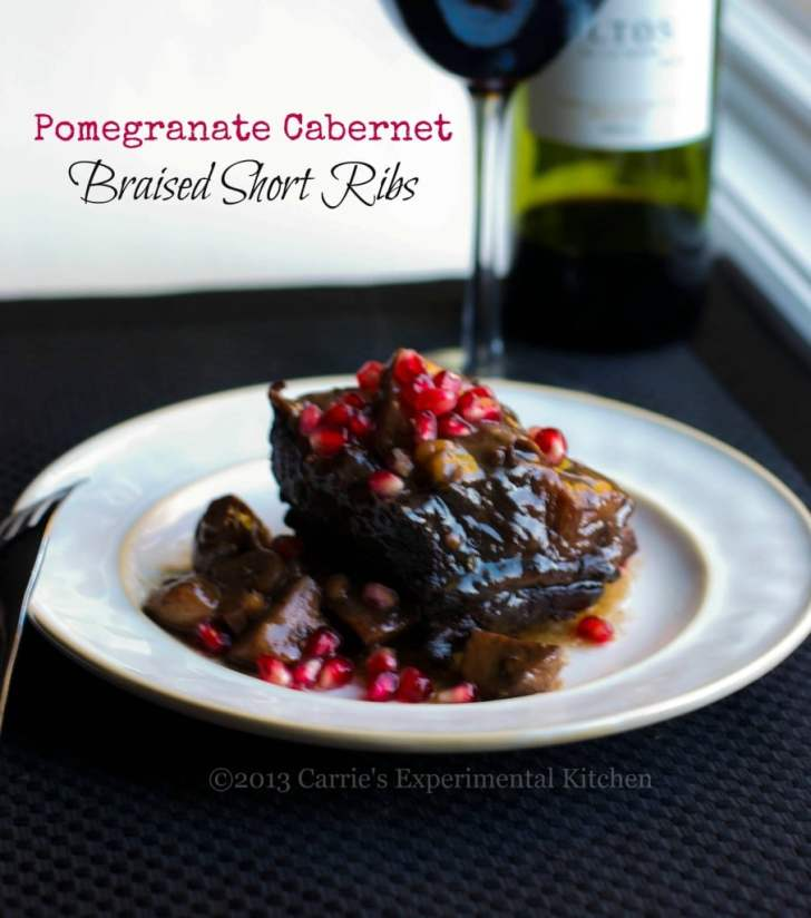 Short Ribs Slowly Simmered Pomegranate Cabernet Red Wine Sauce