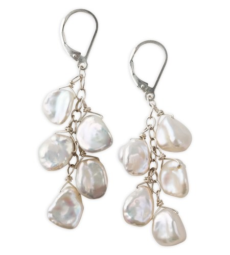 white keshi pearl cluster earrings handcrafted by Carrie Whelan Designs