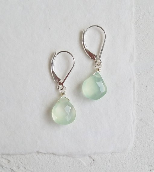 Aqua chalcedony drop earrings handmade by Carrie Whelan Designs