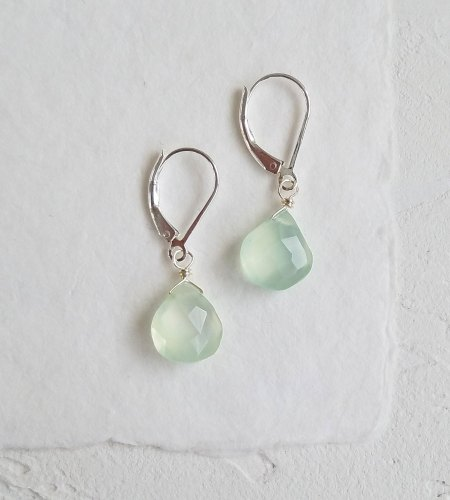 Aqua chalcedony gemstone drop earrings handmade by Carrie Whelan Designs