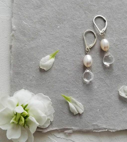 Pearl and gemstone drop earrings handcrafted bridal by Carrie Whelan Designs