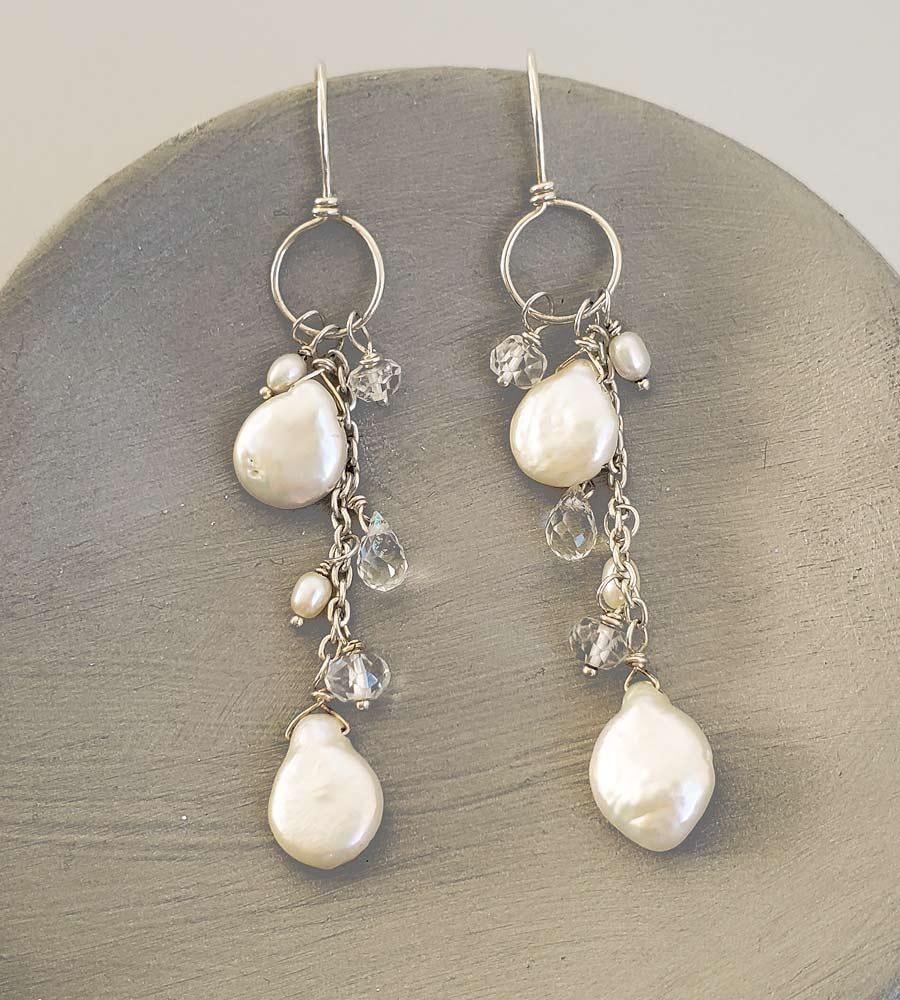 Delicate pearl chain hoop earrings in silver handmade by Carrie Whelan Designs