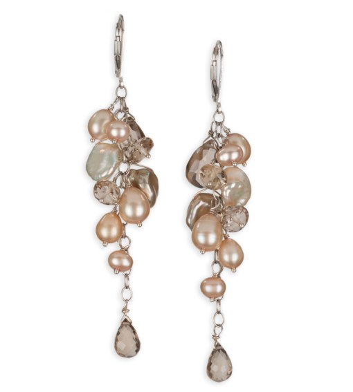 Long dangle champagne pearl earrings handcrafted in sterling silver by Carrie Whelan Designs