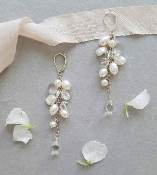 Long cluster pearl bridal earrings handcrafted by Carrie Whelan Designs