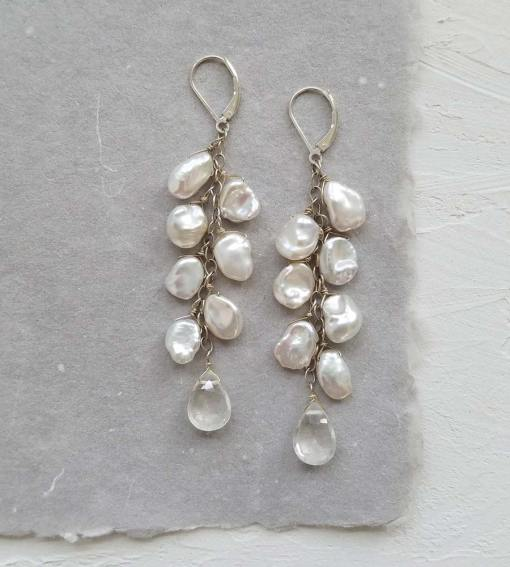 Long dangle keshi pearl earrings handcrafted in silver by Carrie Whelan Designs
