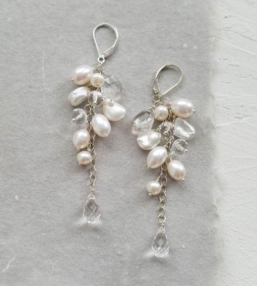 Long pearl statement bridal earrings handmade by Carrie Whelan Designs
