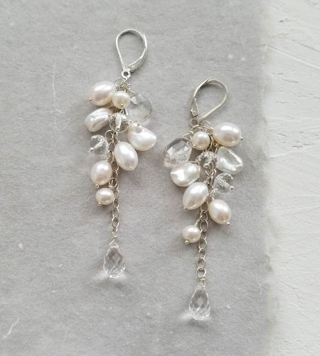 Long pearl cluster earrings handmade by Carrie Whelan Designs
