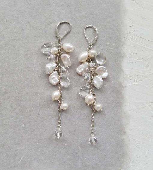 Long statement pearl bridal earrings handcrafted by Carrie Whelan Designs