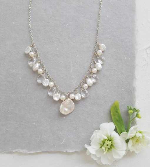 Pearl and gemstone cluster necklace handcrafted by Carrie Whelan Designs