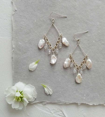White keshi pearl chandelier earrings handcrafted in sterling silver by Carrie Whelan Designs