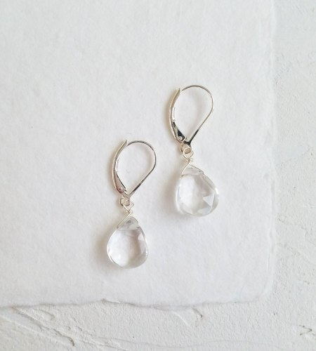 Handcrafted clear drop gemstone earrings by Carrie Whelan Designs