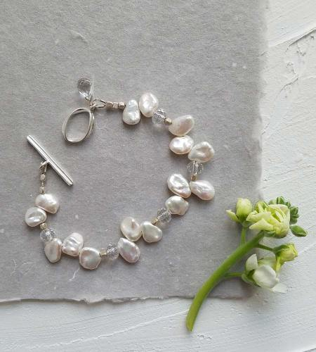 White keshi pearl and rock quartz bracelet handmade by Carrie Whelan Designs