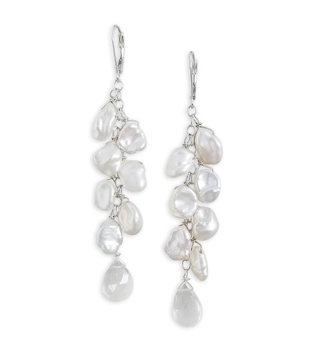 white pearl dangle and drop earrings handcrafted by Carrie Whelan Designs