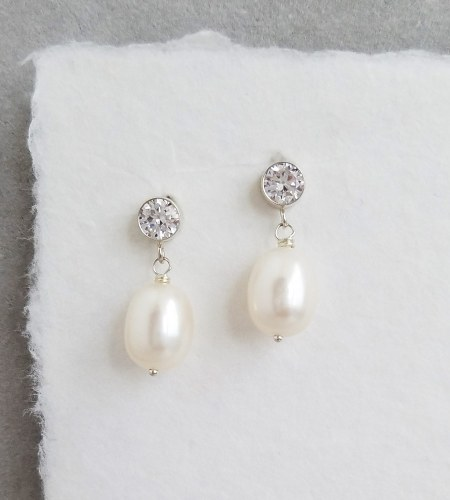 Large pearl CZ post earrings for bride handcrafted by Carrie Whelan Designs