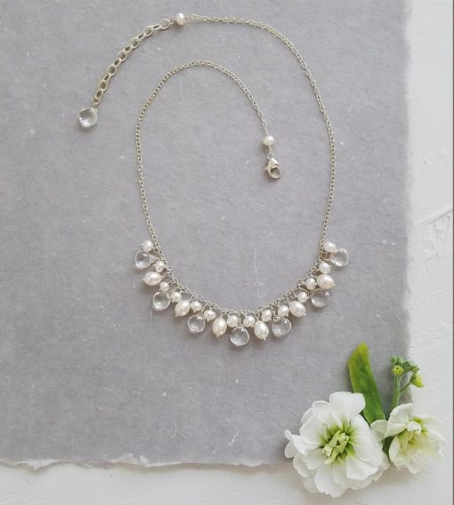 pearl cluster chain necklace in sterling silver from Carrie Whelan Designs