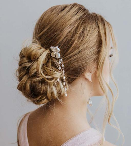 Bridal hair pin flower handcrafted by Carrie Whelan Designs