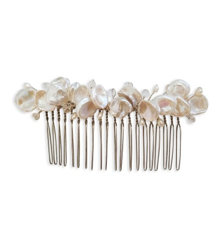 Freshwater pearl floral hair comb handcrafted by Carrie Whelan Designs
