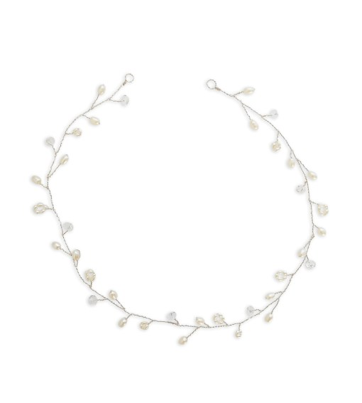 Pearl and crystal bridal hair vine handcrafted by Carrie Whelan Designs