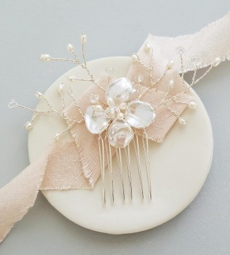 Pearl flower bridal hair comb handmade by Carrie Whelan Designs