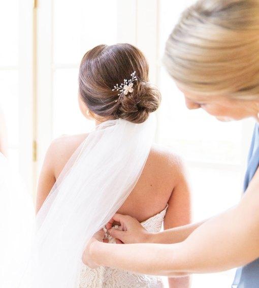 Pearl flower bridal hair comb handmade by Carrie Whelan Designs