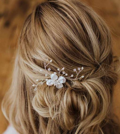 Pearl flower head piece handcrafted by Carrie Whelan Designs