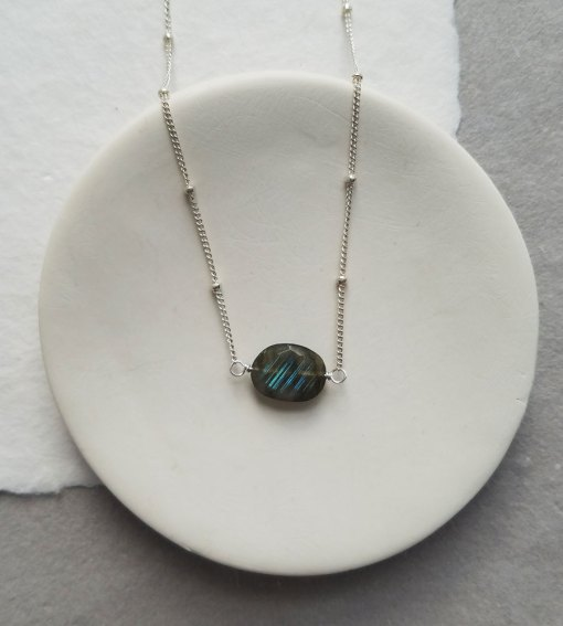Oval stone choker necklace in sterling silver by Carrie Whelan Designs