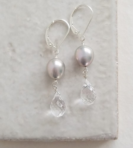 Gray pearl clear drop earrings handmade by Carrie Whelan Designs