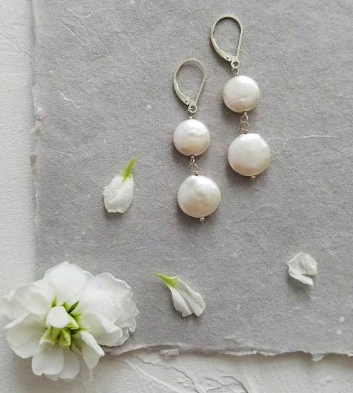 Coin pearl bridal earrings handmade by Carrie Whelan Designs