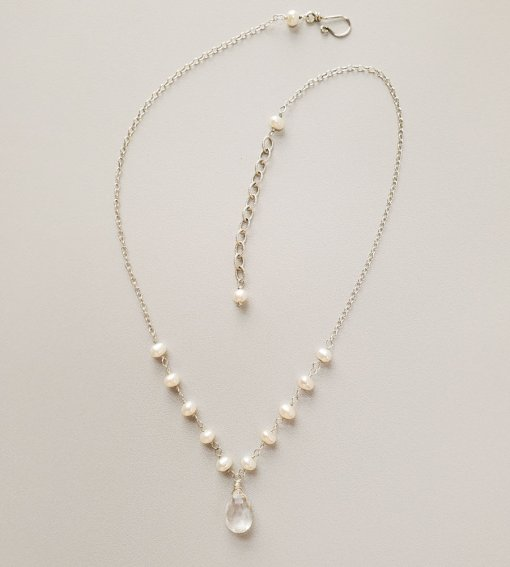 Delicate pearl and gemstone drop necklace by Carrie Whelan Designs