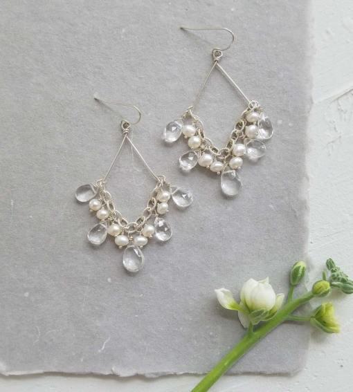 Handmade freshwater pearl bridal chandelier earrings by Carrie Whelan Designs