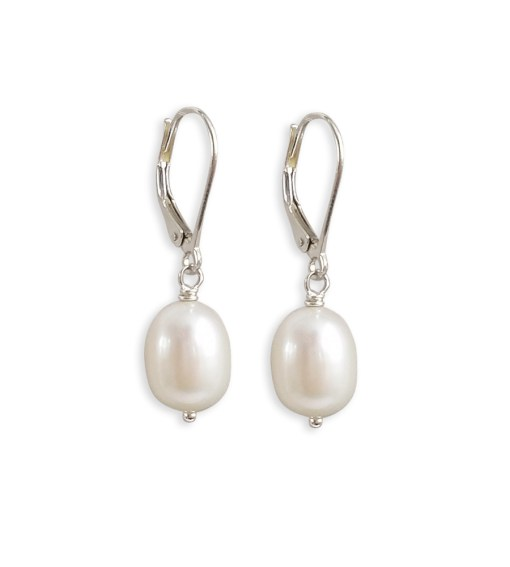 Large pearl drop earrings handcrafted by Carrie Whelan Designs