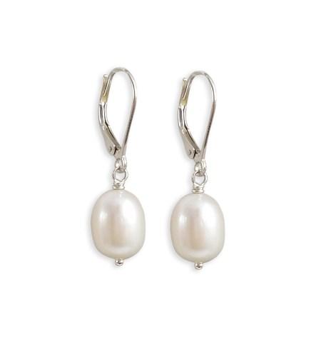 Large pearl drop earrings handcrafted by Carrie Whelan Designs
