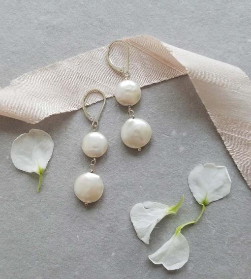 Double coin pearl earrings handcrafted by Carrie Whelan Designs