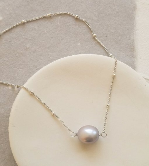 Gray freshwater pearl choker necklace in sterling silver handmade by Carrie Whelan Designs