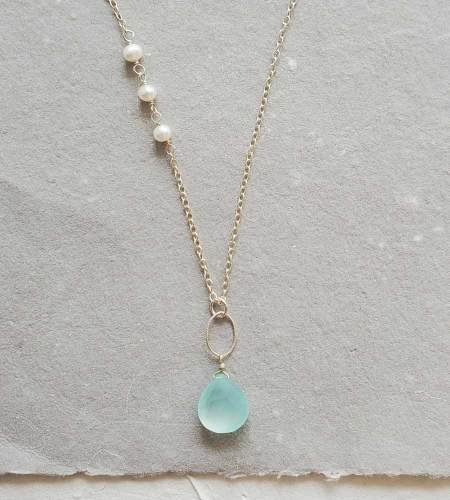 long aqua chalcedony pendant necklace in silver handmade by Carrie Whelan Designs