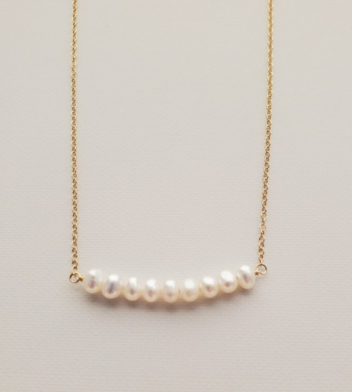 Freshwater pearl bar necklace in gold handmade by Carrie Whelan Designs