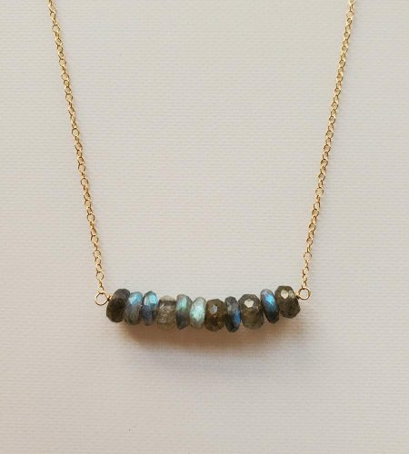 Labradorite 14kt gold Fill bar necklace handmade by Carrie Whelan Designs