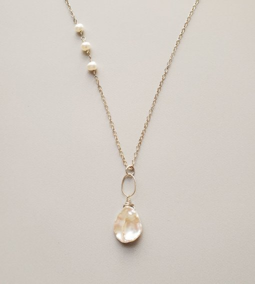 Long keshi pearl pendant necklace handmade by Carrie Whelan Designs