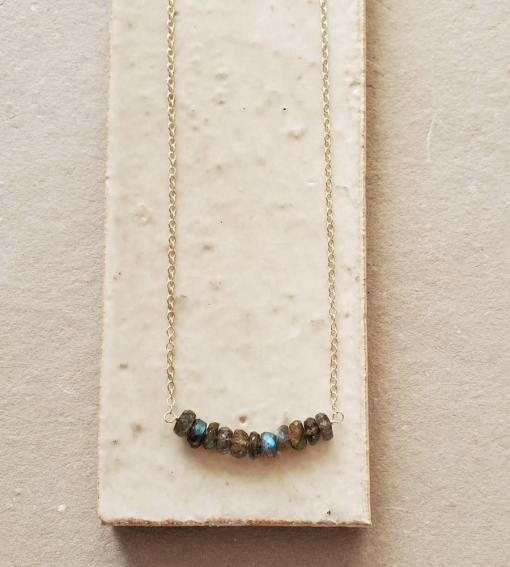 Sterling silver labradorite gemstone bar necklace handmade by Carrie Whelan Designs