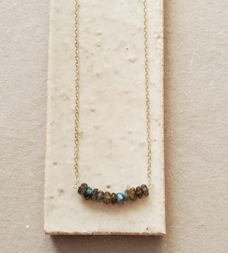Sterling silver labradorite bar necklace handmade by Carrie Whelan Designs