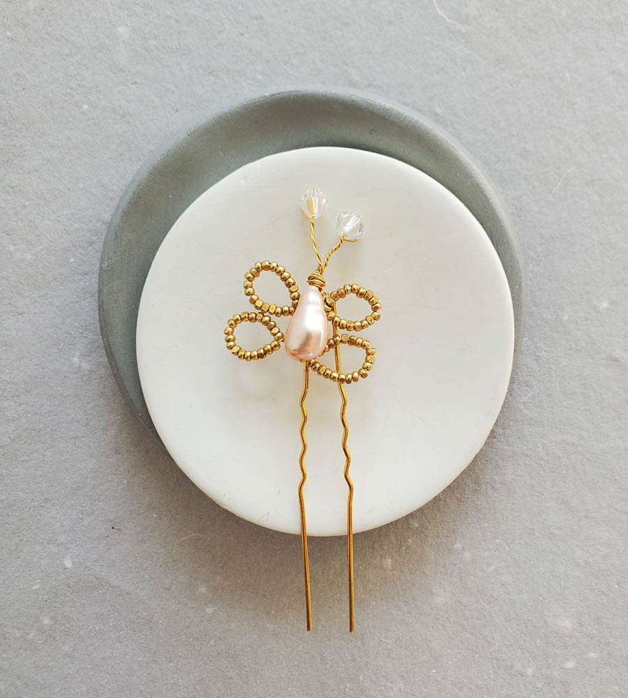 Pearl butterfly hair pin for a whimsical bride by Carrie Whelan Designs