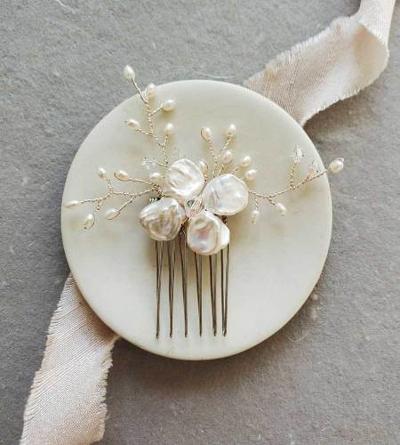 Handmade Keshi Pearl Bridal Hair Comb in silver handmade by Carrie Whelan Designs