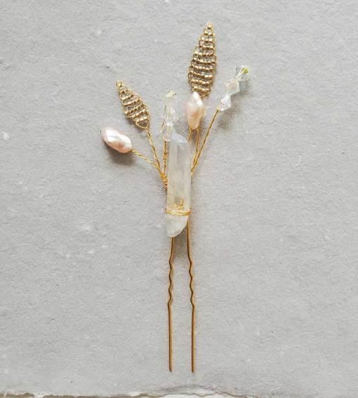 Whimsical raw quartz hair pin handmade by Carrie Whelan Designs