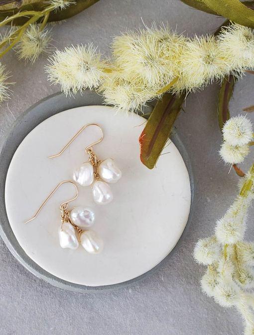 Gold keshi pearl earrings handmade for a fine art bride by Carrie Whelan Designs